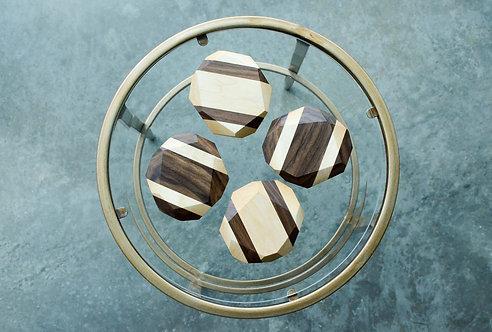 Hardwood Geometric Coasters (Set of 4)