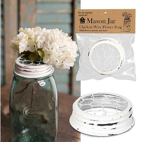 Mason Jar Chicken Wire Flower Frog Lid - White - Box of 6