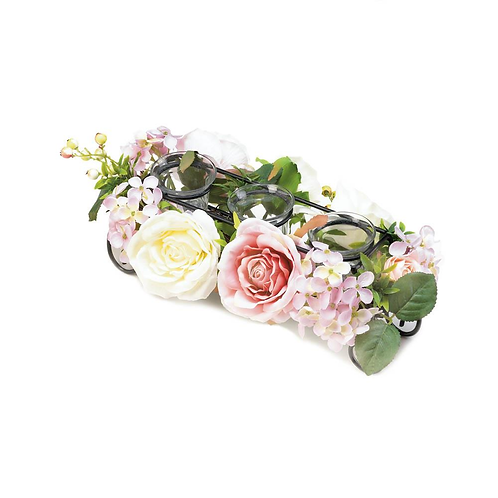 Blooming Faux Floral Candle Holder