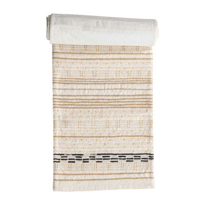 Cotton Embroidered Table Runner with Gold Metallic Stitching, Multi Color