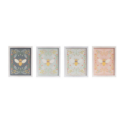 """16""""H Florals & Bee Wood Wall Decor (Set of 4 Styles)"""