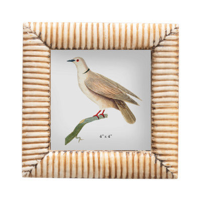 "Hand-Carved Bone Photo Frame w/Ribbed Pattern, Natural (Holds 4"" x 4"" Photo)"