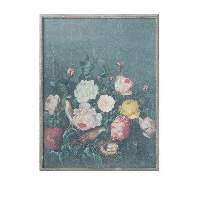 Floral Wood Framed Wall Decor