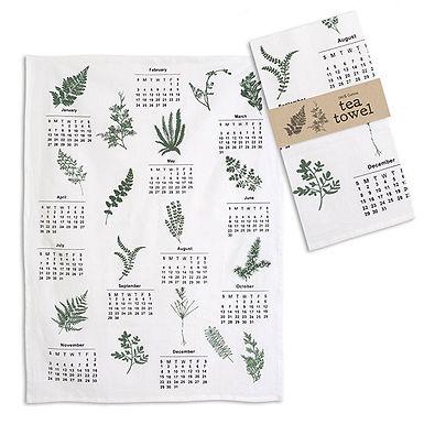 Greenery Calendar Tea Towel - Box of 4