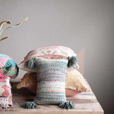 Cotton Woven Lumbar Pillow with Tassels, Multi Color