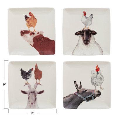 "9"" Square Stoneware Plate w/ Farm Animals, 4 Styles �"
