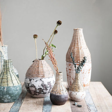 """4"""" Round x 6-1/2""""H Hand-Woven Rattan & Clay Vase,  Finish, 2 Colors (Each Vary)"""