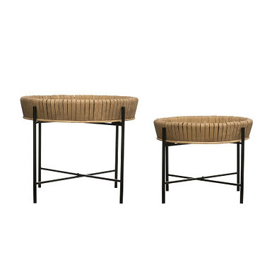 Bamboo Wrapped Tray Tables with Removable Trays & Metal Legs (Set of 2 sizes)