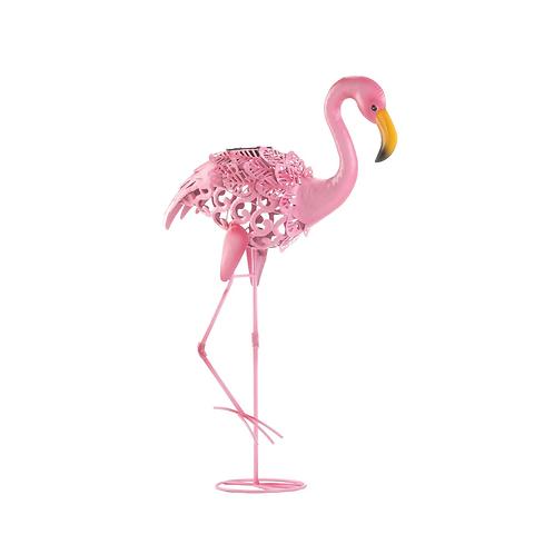 Leaning Solar Flamingo Statue