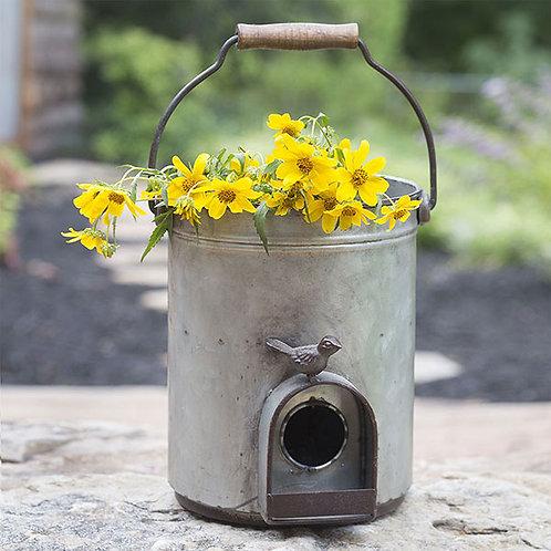 Bucket Birdhouse Planter