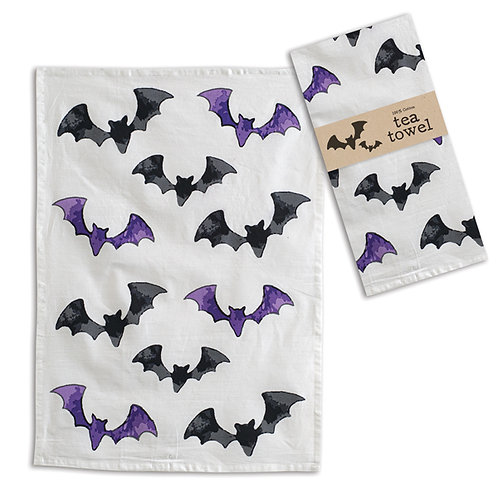 Black and Purple Bats Tea Towel - Box of 4