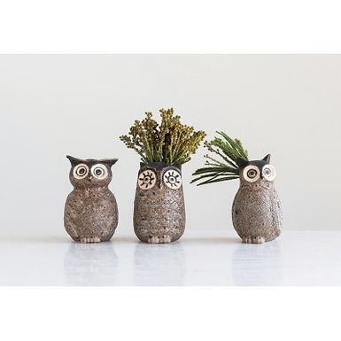 Grey Stoneware Owl Vase w/ Reactive Glaze Finish (qty 3 Styles/Each Vary)