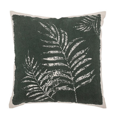 Green Square Cotton Printed Pillow with Palm Frond