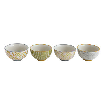 Hand Stamped Stoneware Bowl (Set of 4 Styles)