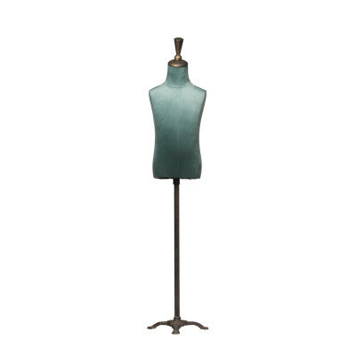 Adjustable Height Metal, Wood & Velvet Mannequin Stand with Triangle Base