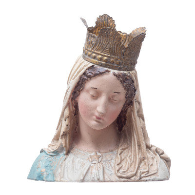 Hand-Painted Magnesia Vintage Reproduction Virgin Mary Bust with Removable Crown