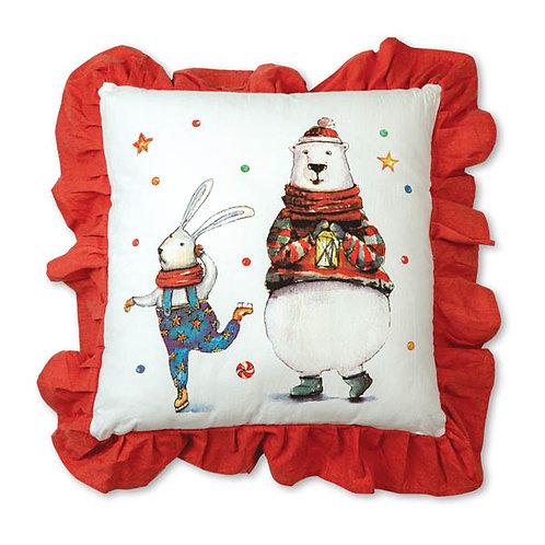 Bunny and Polar Bear Cotton Throw Pillow