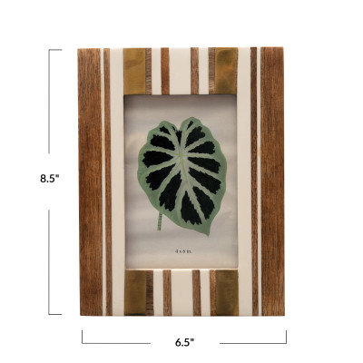 6.5 in x 8.5 in  Wood and Resin Striped Brown and Ivory Photo Frame