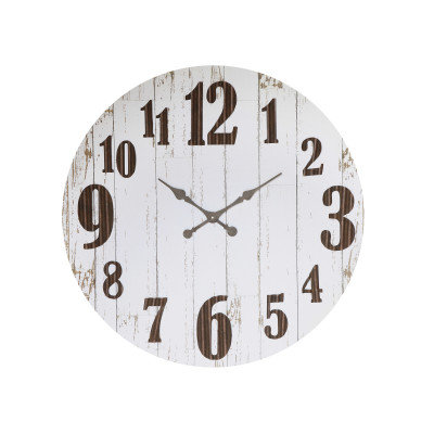 Black & White Wood & Metal Wall Clock