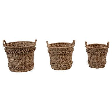 "14"", 17.5"" & 22"" Woven Water Hyacinth & Rattan Baskets w/ Handles (qty 3 Sizes)"