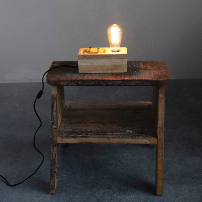 Creative Co-Op DF4380 Unique Edison Bulb Square   Mango Wood Valet Table Light