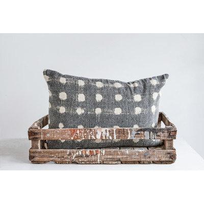 Charcoal Cotton Slub Pillow with Cream Polka Dots