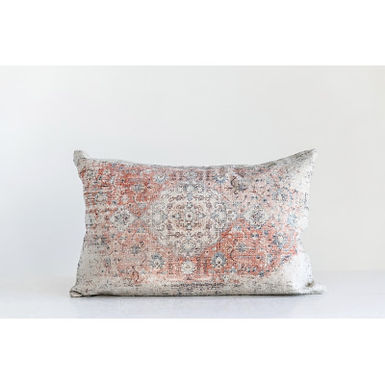 Heavily Distressed Multicolor Print Cotton Lumbar Pillow