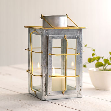 Caged Galvanized and Brass Trim Lantern