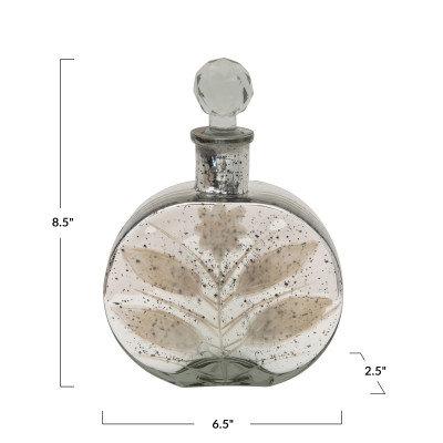 Decorative Mercury Glass Bottle with Crystal Stopper