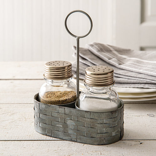 Galvanized Salt and Pepper Caddy with Ring