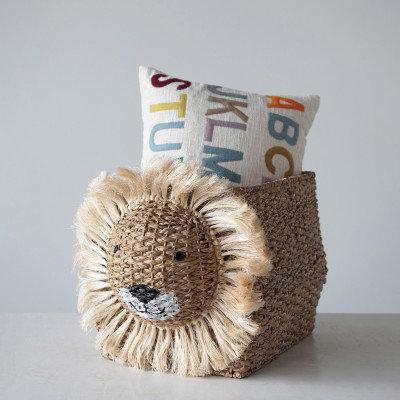 Hand-Woven Bankuan Lion Basket, Natural