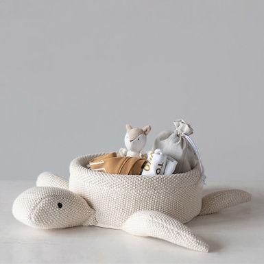 Cotton Knit Turtle Basket, Cream Color