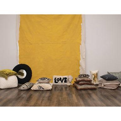 Cotton Woven Lumbar Pillow w/Diamond Pattern & Tassels, Black, Cream & Tan Color