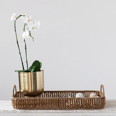 Decorative Hand-Woven Buri Palm Tray with Handles, Natural