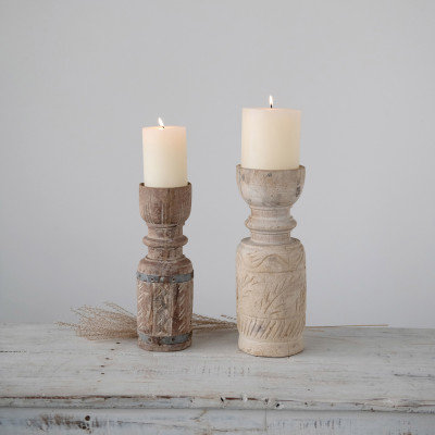 """Apprx. 4"""" Round x 12""""H Found Reclaimed Wood Candle Holder (Each Vary)"""