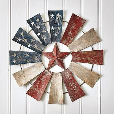 American Flag Windmill Wall Decor