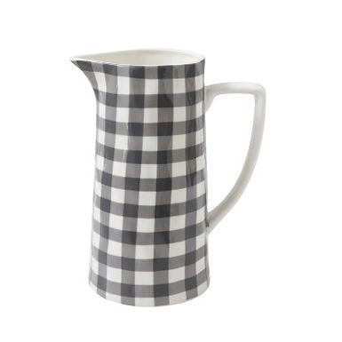 Black & White Gingham Stoneware Pitcher