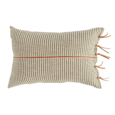 Beige & Black Striped Cotton Ticking Lumbar Pillow with Leather Trim