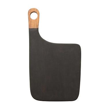 Acacia Wood Cheese/Cutting Board with Handle, Black & Natural