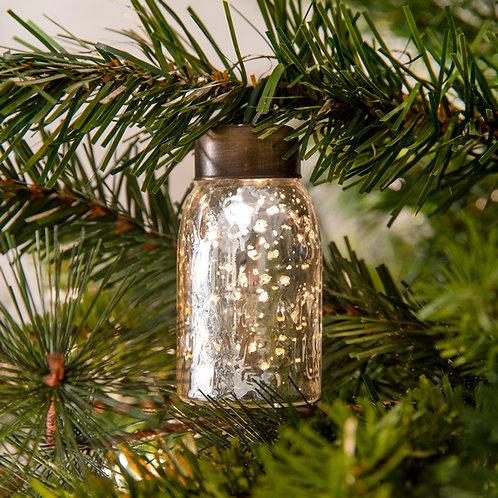 Glass Mini Mason Jar Ornament - Mercury Silver - Box of 6