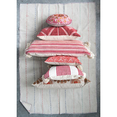 Coral Cotton Blend Chenille Lumbar Pillow