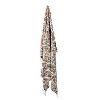 """60"""" x 50"""" Cotton Printed Throw with Floral Design & Fringe"""