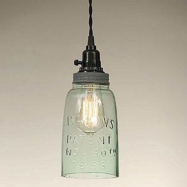 Half Gallon Open Bottom Mason Jar Pendant Lamp - Barn Roof