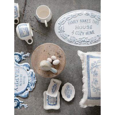 "4"" Round x 3-1/4""H 10 oz. Stoneware Mug w/ Saying, White & Blue, 4 Styles �"