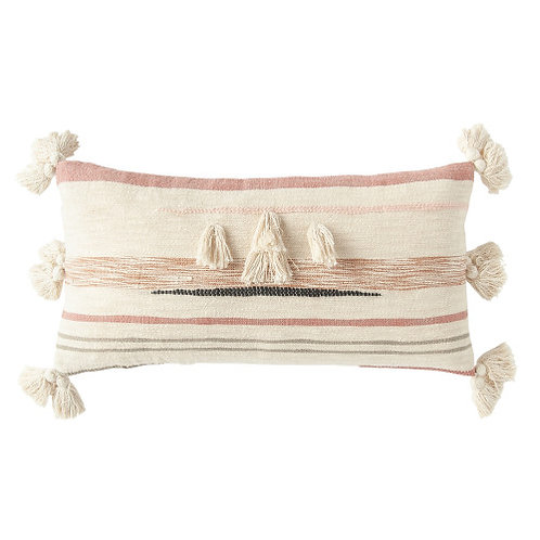 Cream Cotton Kilim Lumbar Pillow with Brown, Pink & Black Stripes & Tassels