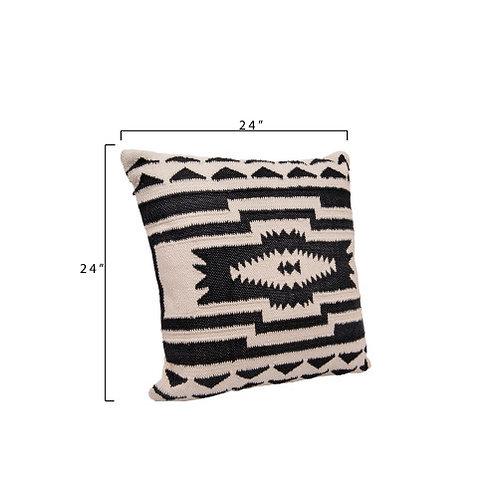Black & Cream Square Kilim Cotton Pillow