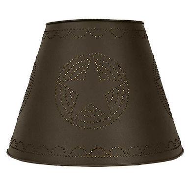 9X17X12 Star Tin Washer Top Lamp Shade - Rustic Brown