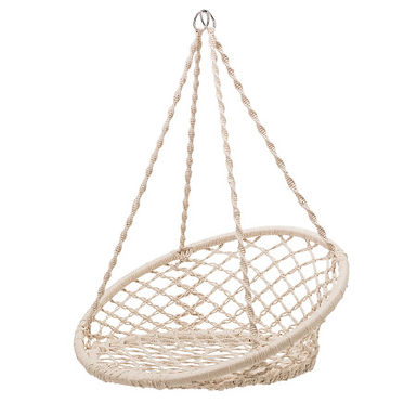 Hanging Handwoven Cotton Macrame Chair with Metal Frame