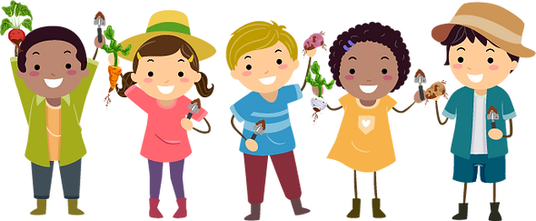Diverse group of happy kids holding gardening tools and root vegetables