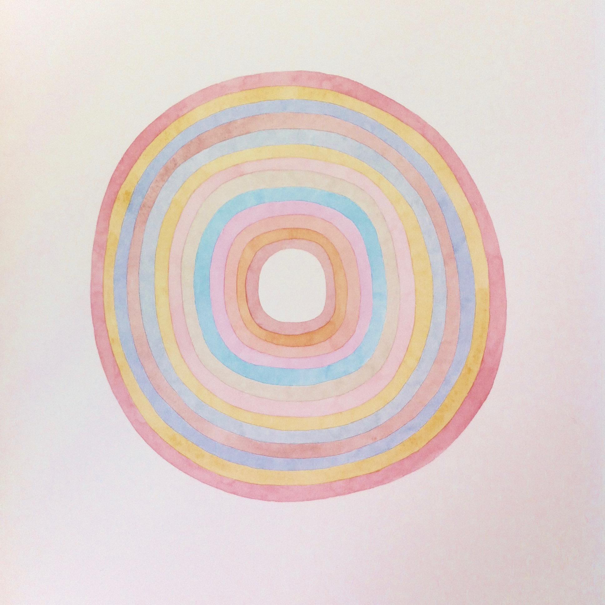 Sans titre, cercles, rose/bleu